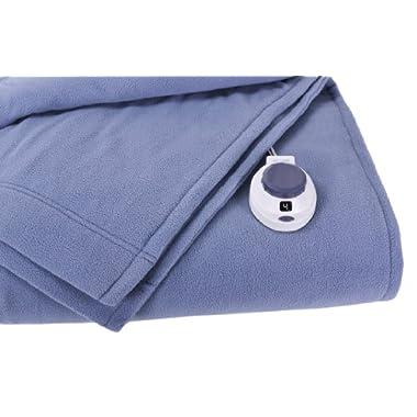 Soft Heat Luxury Micro-Fleece Low-Voltage Electric Heated Twin Size Blanket, Slate Blue