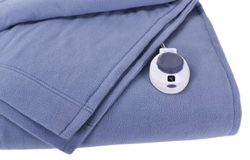 Soft Heat Luxury Micro-Fleece Low-Voltage Electric Heated Twin Size Blanket, Slate Blue by SoftHeat