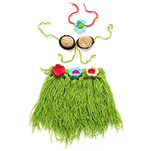 Price comparison product image swrose Handmade Newborn Crochet Knit Dress Sets Costume Photograph Prop (Green)