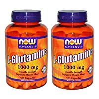Now Foods L-Glutamine, Double Strength, 1000 mg, 120 Capsules, 2 Pack