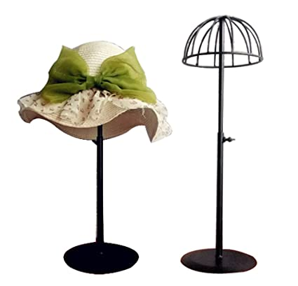 Queens Adjustable Height Hat Stand Metal Dome Shape Design Tabletop Wig  Display Rack (Black)