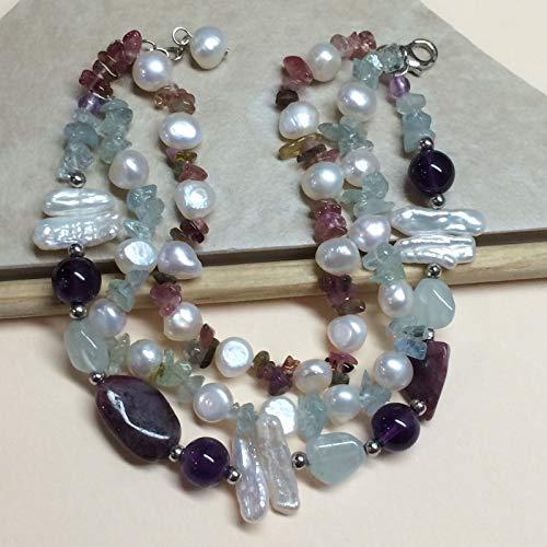 Genuine 40ct Aquamarine, Multicolor Tourmaline, Freshwater Cultured Pearl, Purple Amethyst, Blue Topaz, Biwa Pearl 925 Solid Sterling Silver Bracelet 8 1/2
