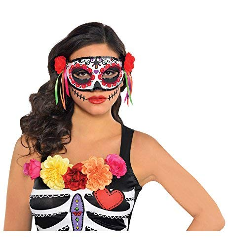 Amscan Day of the Dead Masquerade Mask Halloween Costume Accessory for Women, One Size