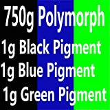 750g(26.5 oz) PCL+3 g Pigments plastimake Polymorph Thermoplastic polycaprolactone plastic for hobbyist mould (750g PCL+Black+Blue+Green)