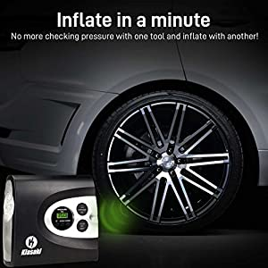 ONE DAY SALE!!-Portable Air Compressor Pump , 12v Cordless Tire Inflator for Automobiles, Car and Inflatables. Electric Digital 12 Volt Compressors Pumps (150 PSI) with Tires Pressure Gauge by Kiasaki