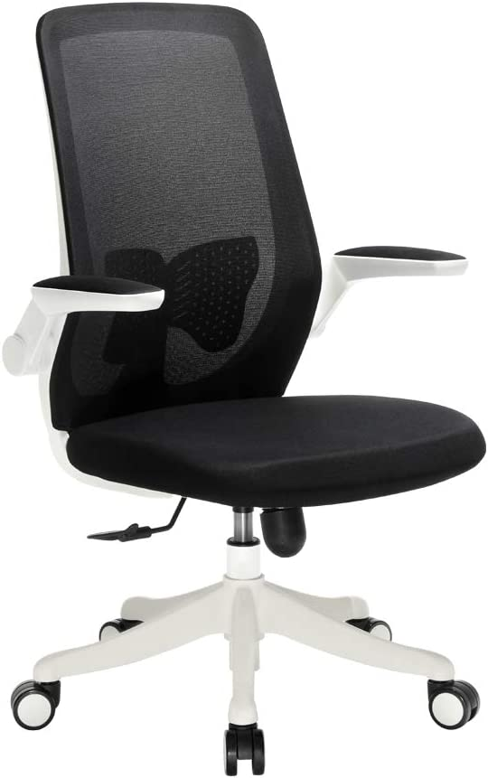 WOHOMO Desk Chair Ergonomic Swivel Home Office Task Chair with Flip-up Arms, Butterfly Lumbar Support Adjustable Computer Chair, Black and White