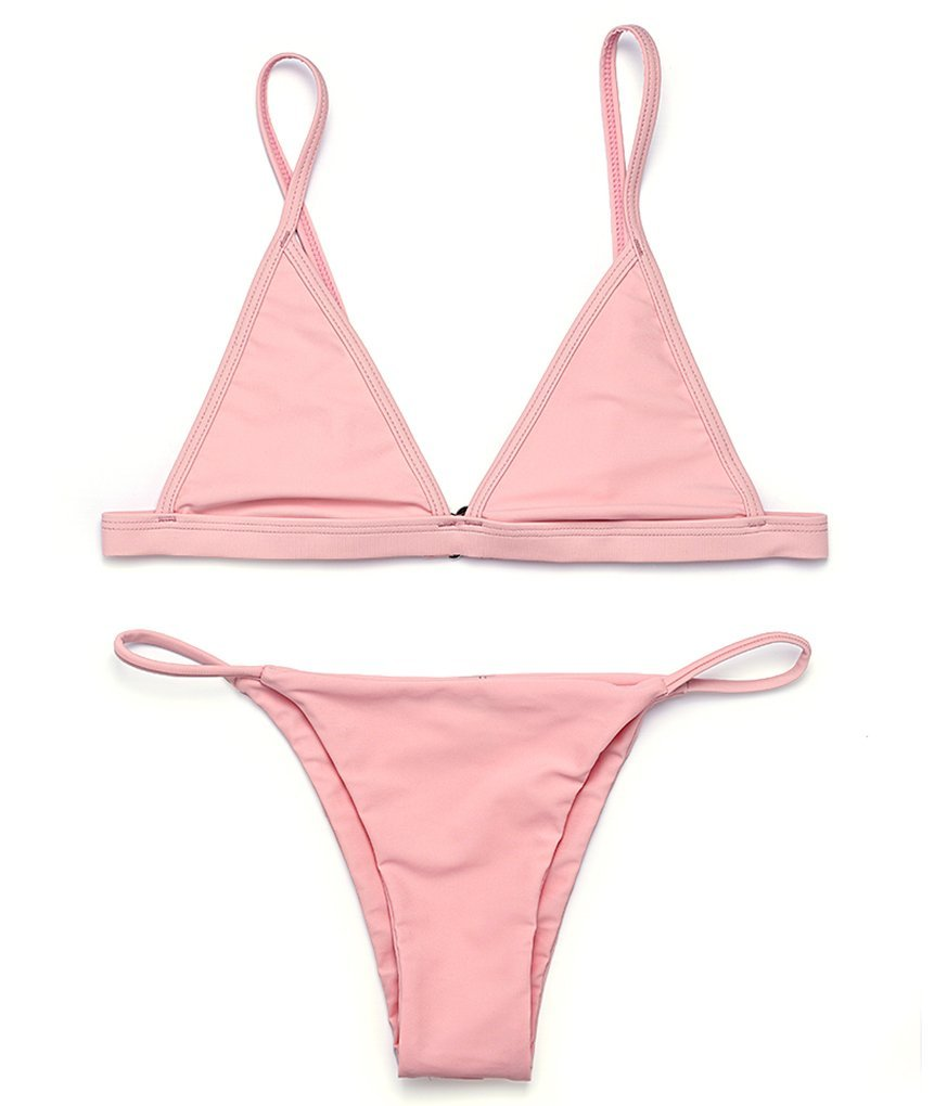 reltanglレディース2個ビキニTriangle Top Brazilian Bottom水着ビキニセット B01N4KY7AC M:US(4-6)|Bare Pink