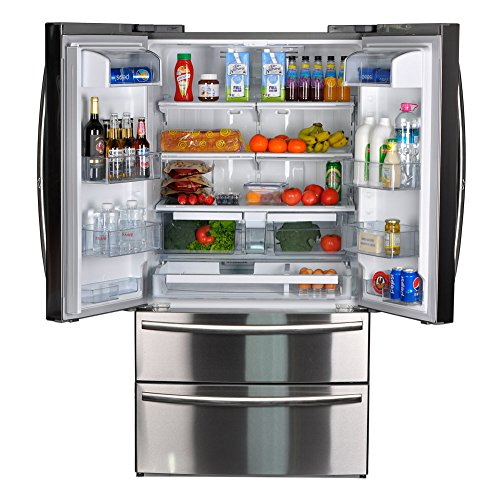 Cabinet Depth Bottom Freezer Refrigerator (Smad 20.7 Cu.Ft. Wide French Door Refrigerator Bottom Freezer with Ice Maker, Stainless Steel)