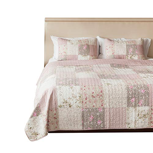 (SLPR Secret Garden 3-Piece Real Patchwork Cotton Quilt Set (King) | with 2 Shams Pre-Washed Reversible Machine Washable Lightweight Bedspread)
