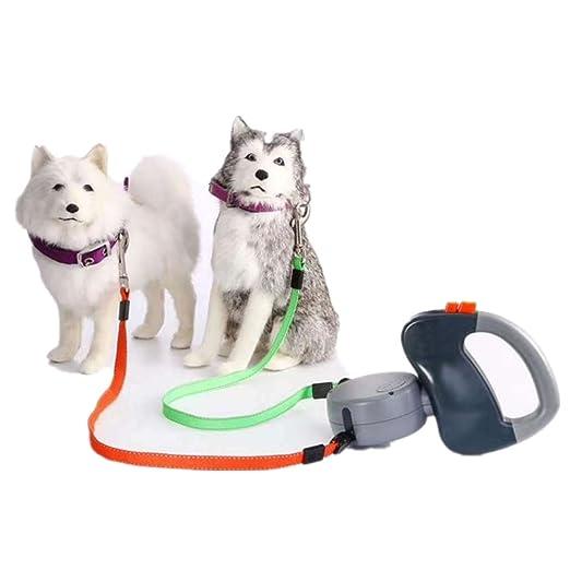 ULLK Correa de Perro retráctil de Doble Correa para 2 Perros 3 m de Largo Correa de Perro con un Sistema de Cierre de Botón, para Perros Pequeños, ...