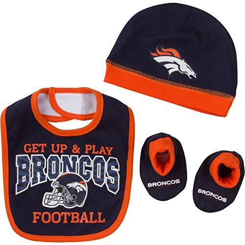 NFL Denver Broncos Unisex-Baby Cap, Bootie & Bib Set, Blue, 0-6 Months