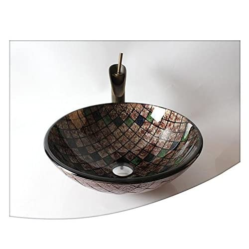 BL- Tempered glass taBL-e basins bathroom basin art basin (T12420H145mm) , Single basin + faucet well-wreapped