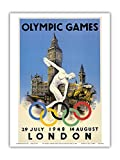 XIV Olympic Summer Games 1948 - London, England - Discus Thrower - Big Ben, Palace of Westminster - Vintage Olympic Games Poster by Walter Herz c.1948 - Master Art Print - 9in x 12in