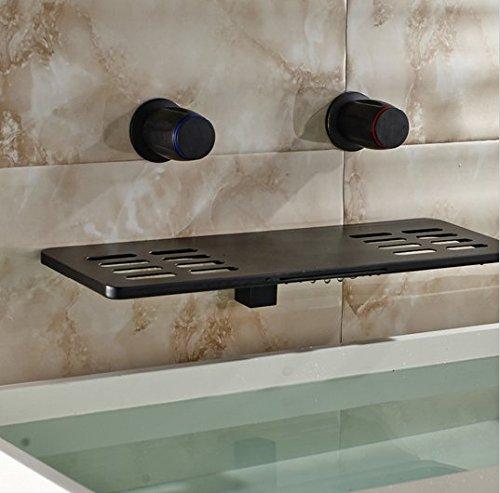 GOWE Waterfall Widespread Bathroom Faucet Oil Rubbed Bronze Solid Brass Vessel Sink Mixer Tap 3
