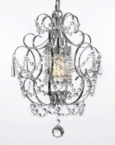 Chrome Crystal Chandelier Chandeliers Lighting H 15″ W 11.5″ SWAG PLUG IN-CHANDELIER W/ 14′ FEET OF HANGING CHAIN AND WIRE!