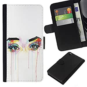 For HTC DESIRE 816 Case , Eyes Colorful Art Tears Make Up - la tarjeta de Crédito Slots PU Funda de cuero Monedero caso cubierta de piel