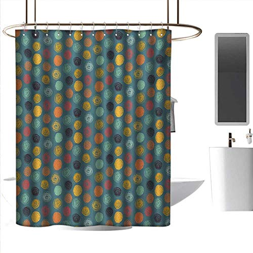(Shower Curtains XL Modern,Geometrical Sketchy Abstract Image with Colorful Circles on Jade Green Backdrop,Multicolor,W48 x L72,Shower Curtain for Shower)