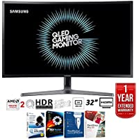 Samsung LC32HG70QQNXZA 32 2560 x 1440 HDR QLED Curved Gaming Monitor (144Hz/1ms) + Elite Suite 17 Standard Software Bundle (Corel WordPerfect, Winzip, PDF Fusion,X9) + 1 Year Extended Warranty