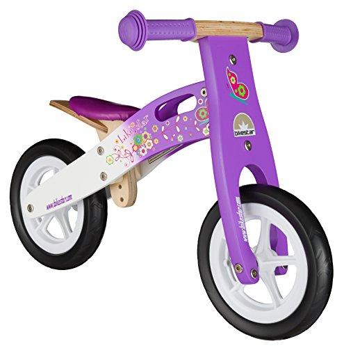 BIKESTAR-254cm-10-pulgadas-Bicicleta-sin-pedales-para-pequeos-aventureros-a-partir-de-2-aos--Edicin-de-madera-natural--Lila-Blanco
