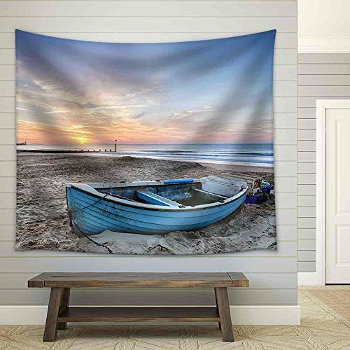 Turquoise Blue Fishing Boat at Sunrise on Bournemouth Beach with Pier in Far Distance Fabric Wall