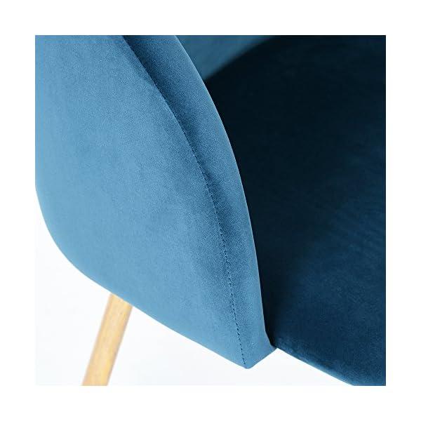 EGGREE Chaises Salle à Manger en Tissu Velours Rétro Fauteuil Rembourré Scandinaves,Pieds en Métal,Bleu