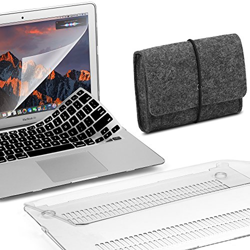 GMYLE MacBook Air 13 Inch Case Bundle Older Version Compatible A1369/A1466 2008-2017 Release NO Touch ID, Hard Shell, Keyboard Cover & Screen Protector, Felt Storage Organizer Pouch Bag – Clear