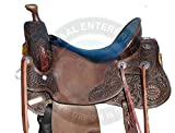 Manaal Enterprises Premium Leather Western Barrel Racing Adult Horse Saddle Size 14-18 Inches Seat