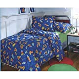 Outerspace Rockets Planets Spaceships Twin Comforter Shams Set Reversible