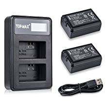 TOP-MAX 2X NP-FW50 Battery + Dual Charger LED Screen for Sony Alpha A7, A7R, A3000, NEX-7, NEX-6, NEX-5N, NEX-5R, NEX-5, NEX-F3, NEX-3N, NEX-C3, NEX-3, Cyber-Shot DSC-RX10, SLT A55,A37,A35,A33