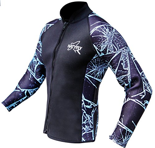 Paddling Suit - NATYFLY Wetsuit Jacket Long Sleeve Neoprene Wetsuits Top for Men/Women (Blue-Neoprene, Medium)