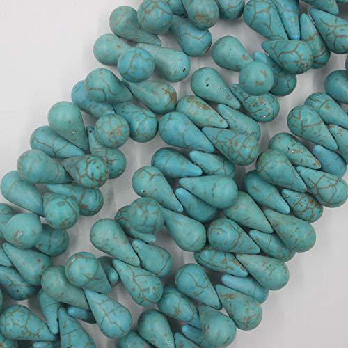 (10x18mm Teardrop Turquoise Beads Semi Precious Loose Stone Gemstone Beads for Jewelry Making Strand 15 Inch (100pcs))