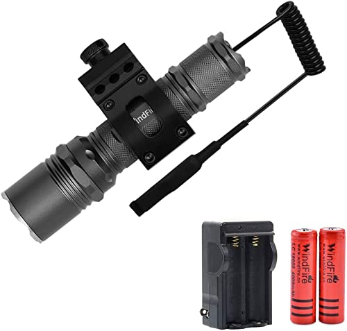 WINDFIRE Tactical Flashlight High Lumen LED Rail Lights with Picatinny Offset Mount for Outdoor Hunting, Water Resistant Singe Mode Handheld LED Torch Remote Pressure Switch, Rechargeable Batteries