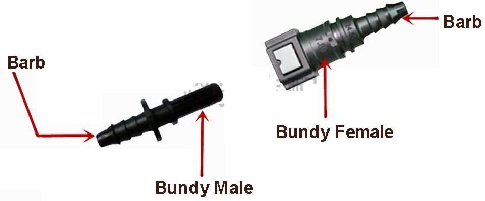 Pack of 2 Fuel Line Quick Connector 3//8 Bundy Female to Barb 90 Degree for 3//8 Steel to 5//16 Nylon Tubing