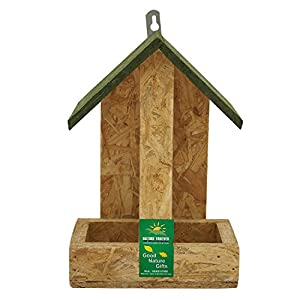 Nature Forever Hut Wooden Feeder, Brown