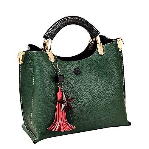 Women Tassel Pendant Killer Bag Casual Wild Shoulder Slung Handbag (Green) ()