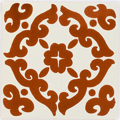 Tierra y Fuego Box of 9-4¼ x 4¼ Terra Cotta Kiosco - Talavera Mexican Ceramic Tiles