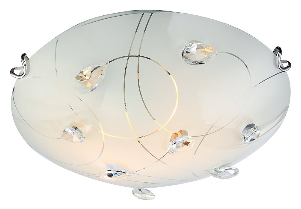 Contemporary Glass Flush Ceiling Light with Crystal Droplets - 30cm Diameter by Haysom Interiors Happy Homewares HA99665