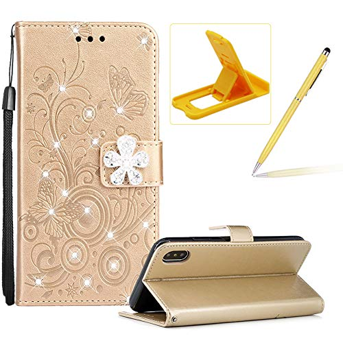 Price comparison product image Glitter Leather Case for iPhone Xs Max,Wallet Flip Cover for iPhone Xs Max,Herzzer Stylish Elegant Gold Diamond Butterfly Print with 3D Crystal Flower Magnetic Stand Case