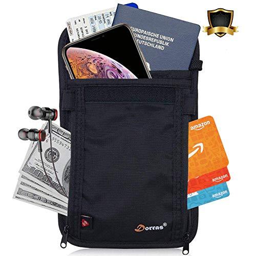 Passport Holder for Women Men, Travel Neck Wallet - RFID Blocking Hidden Neck Pouch & Travel Accessories - Black