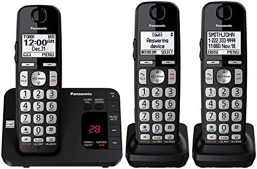 Panasonic KX-TGE433B Expandable Cordless Phone System with Answering Machine - 3 Handsets (Certified Refurbished) by Panasonic