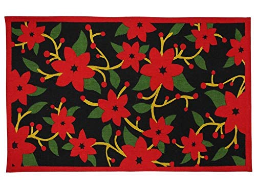 Martha Stewart Living Painted Poinsettia Accent Rug Non Skid Holiday Mat 18x30