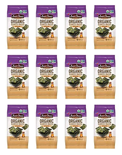 Annie Chun's Organic Seaweed Snacks, Sesame, 0.16 oz (Pack of 12), America's #1 Selling Seaweed Snacks
