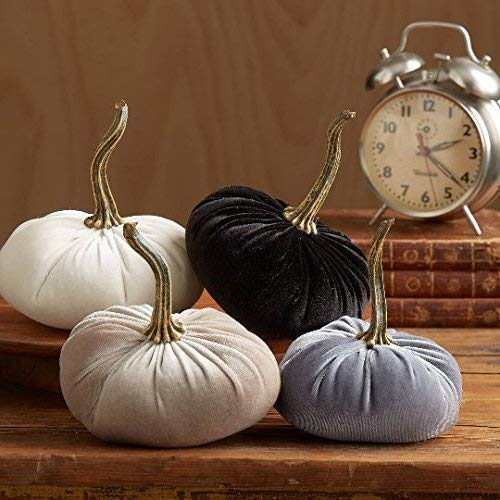 Small Velvet Pumpkins Set of 4 Includes Gray Black Ivory and Taupe, Handmade Home Decor, Holiday Mantle Decor, Fall Halloween Thanksgiving Centerpiece, Rustic Fall Wedding Centerpiece Decor