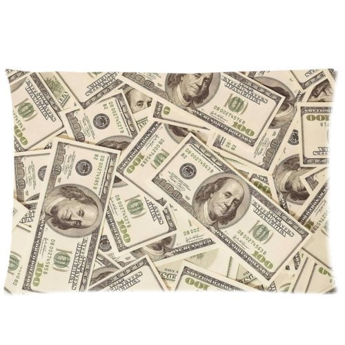 Huirong Pillowcase Design US Dollar Currency Money Pillowcase, Hundreds of 100 Dollar Bills (2) Pillow Protector, Best Pillow Cover(Size 20 X 30 inch One side printing) (Currency Dollar)