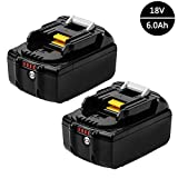 #6: 2x Murllen 6.0Ah Makita 18v Battery LXT Lithium-Ion Replacement with LED Indicator for Makita BL 1860 BL1850 BL1840 BL1830 BL1820 LXT-400