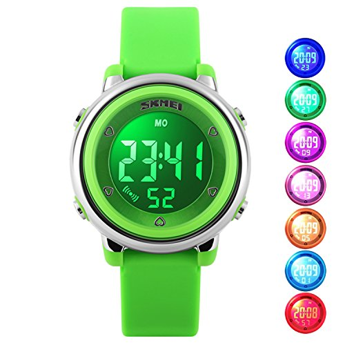 Price comparison product image Kid Watch Multi Function 50M Waterproof Sport LED Alarm Stopwatch Digital Child Wristwatch for Boy Girl Green
