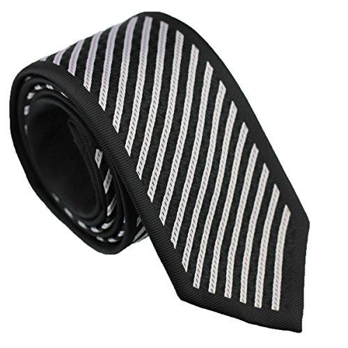 Coachella Ties Diagonal Striped Bordered Necktie Woven Panel Slim Tie 7cm (Black/Silver)