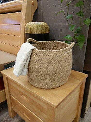 Jute Storage Baskets Dual Handles Storage Bin Basket Gift Baskets Floor Bin Pot Plant Cover Basket Belly Storage Baskets Carrying Tote Rope Basket, Storage Basket, Planter Basket by OrganizerPro (Image #4)