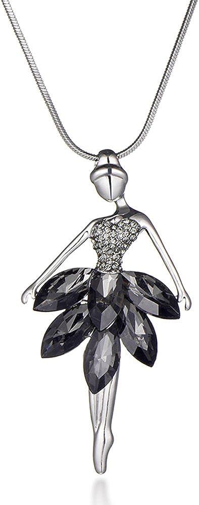 Ouran - Collar con colgante de bailarina con cristal para niñas, oro rosa y plata