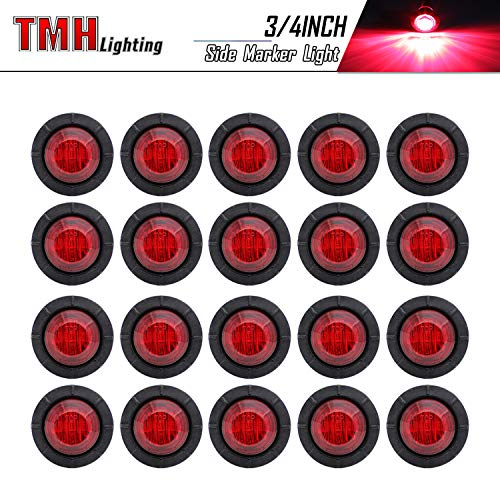 (Pack of 20) TMH 3/4 Inch Mount RED LED Clearance Bullet Marker lights, Side LED marker lights for trailer Truck RV Car Bus Van
